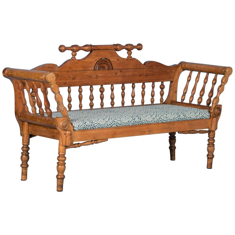 Antique Swedish Country Pine Bench