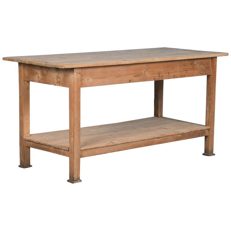 Antique Danish Pine Work Table or Kitchen Island