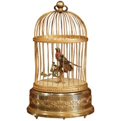 19th Century French Automaton Singing Bird in Brass Cage