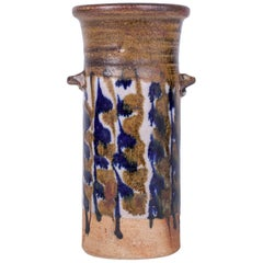 Robert Sperry, Glazed Stoneware Vase with Handles in Earth Tones, 1960s