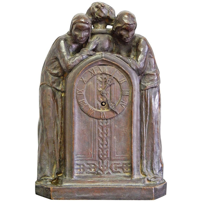 Arts & Crafts/Secessionist Clock with Female Figures by Roman Bronze Works For Sale