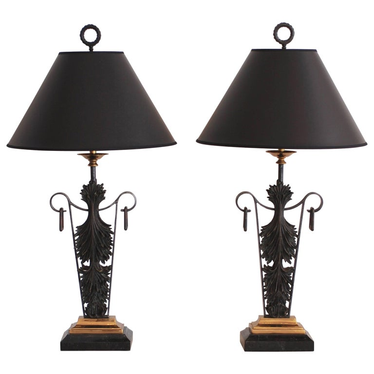 Pair of Maitland-Smith Bronze and Brass and Marble Table Lamps