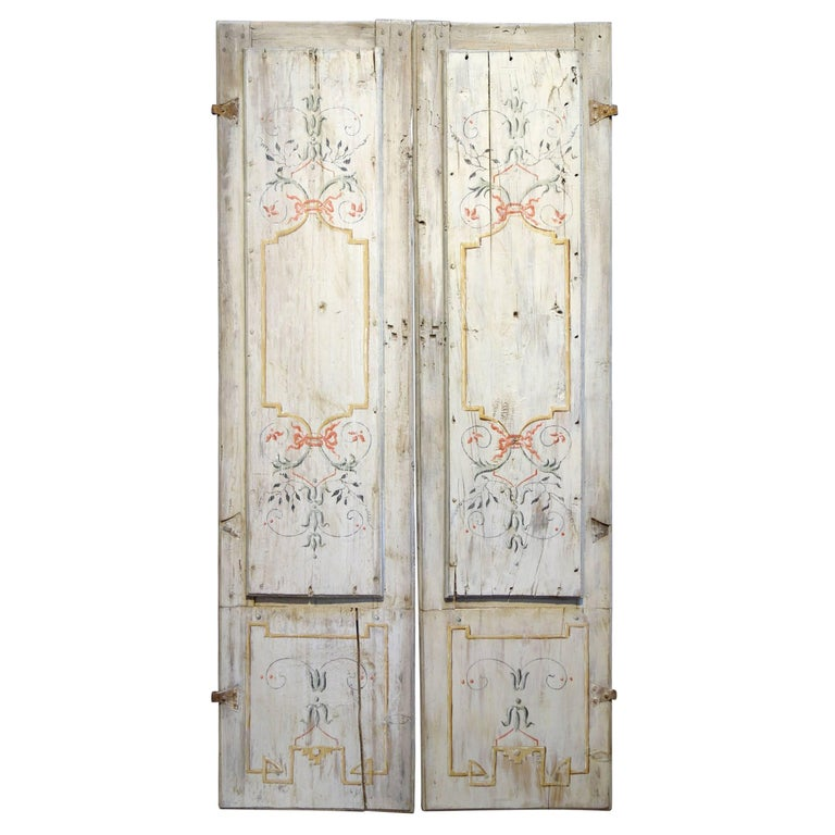 Antique Italian Pair of Hand Painted Door Panels from Arezzo Tuscany Circa 1820