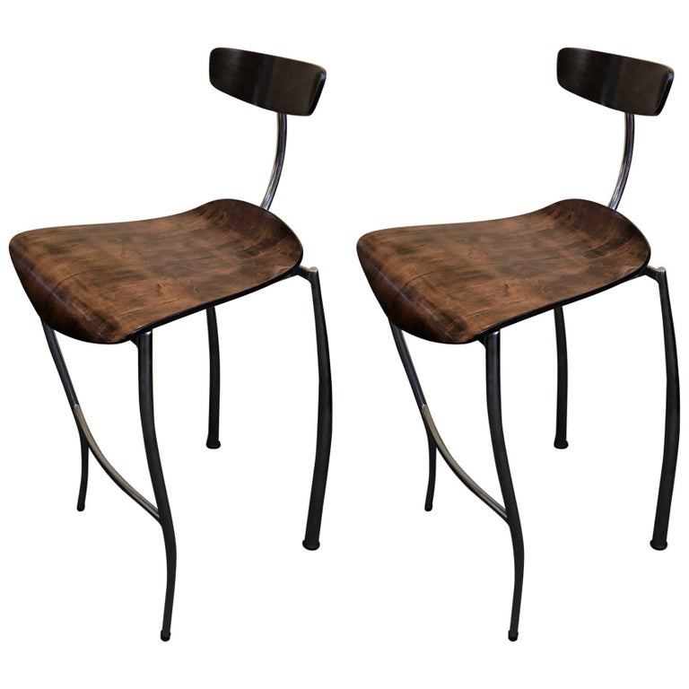 Walnut and Chrome French Bar Stools