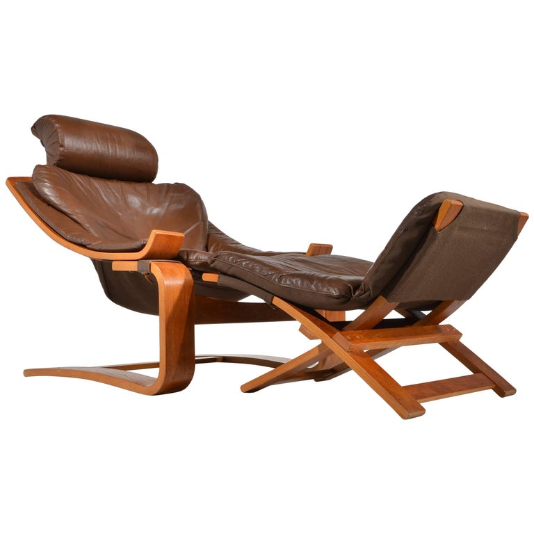 Kroken Teak and Leather Lounge Chair and Stool by Ake Fribytter for Nelo, Sweden