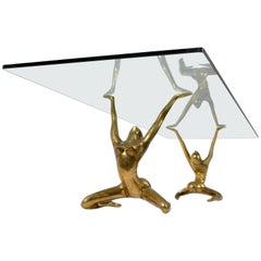 Modernist Nude Sculpture Table Bases in Cast and Polished Brass