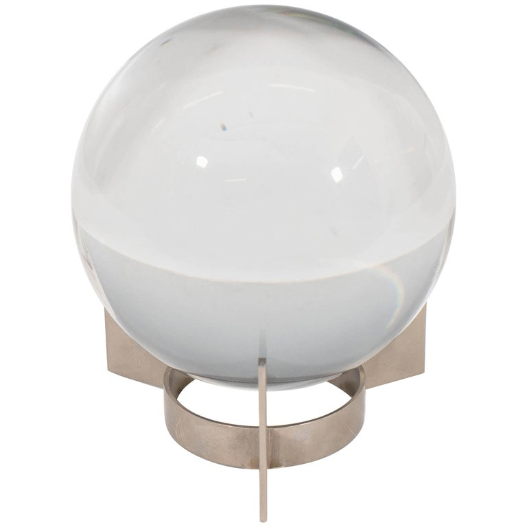 Baccarat Sirius Crystal Ball on Nickel Plate Stand by Jacques Adnet