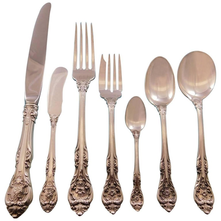 King Edward by Gorham Sterling Silver Flatware Set for 12 Service 89 Pcs Dinner