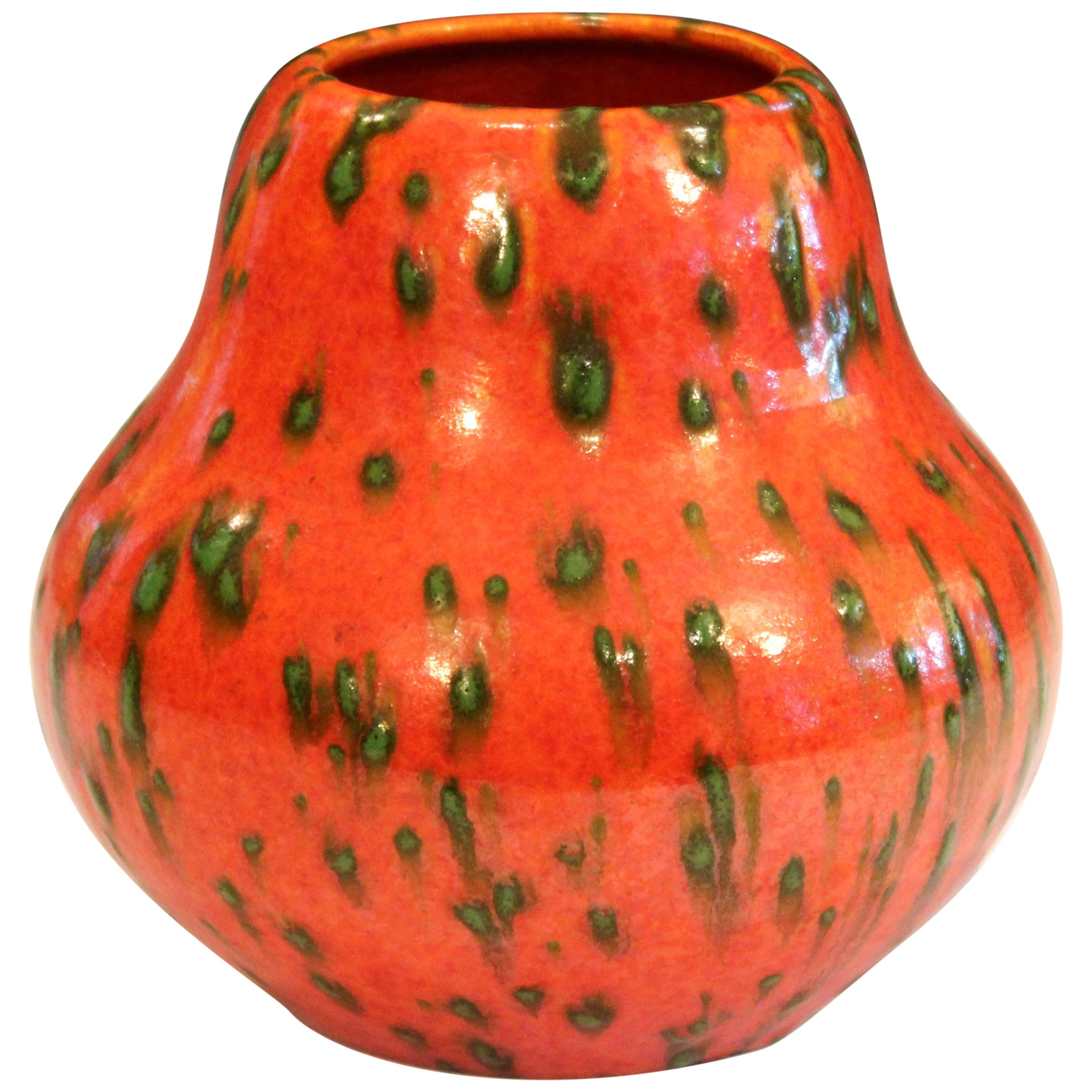 Huge Royal Haeger Hickman Vintage Vase Atomic Orange Art Pottery