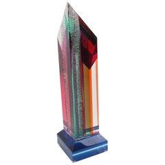 Manner of Dale Morrow Tall Multicolor Lucite Prismatic Skyscraper Sculpture