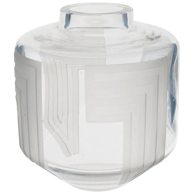 Jean Luce 1930s Monumental French Art Deco Geometric Etched Glass Vase