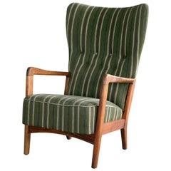 High Back Open-Arm Lounge Chair by in Oak Fritz Hansen Danish Midcentury