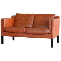 Classic Danish 1960s Two-Seat Sofa in Cognac Colored Leather