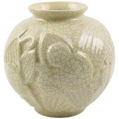 Saint Clement French Art Deco Crackle Glaze Ceramic Vase