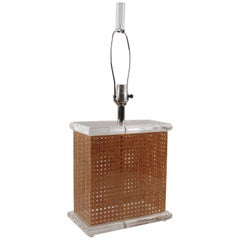 1970s Italian Modernist Lucite and Rattan Table Lamp