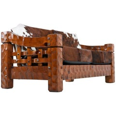 Vintage Rustic Modern Cowhide Leather Solid Pine Loveseat Sofa Settee by Null