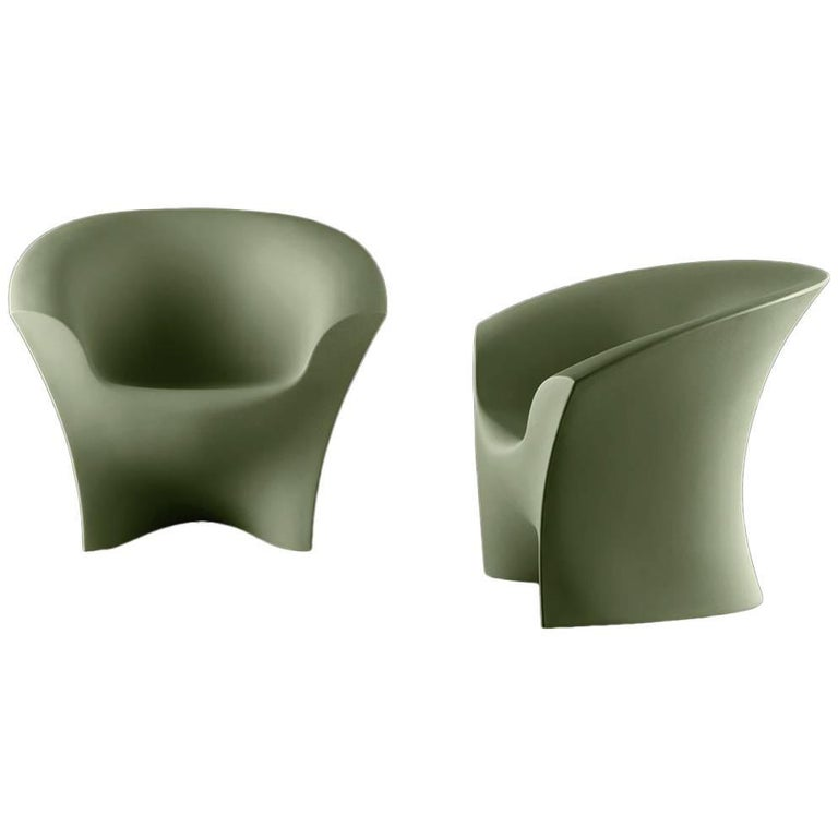 Ohla Armchair in Matte Rosemary Polyethylene by Alberto Brogliato for Plust