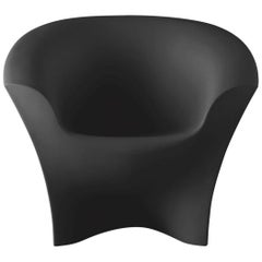 Ohla Armchair in Matte Black Polyethylene by Alberto Brogliato for Plust