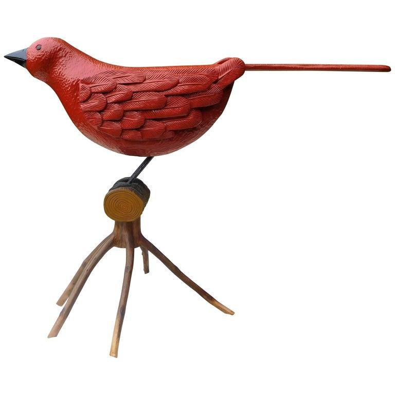 Big Red Bird, Oversized Folk Art Sculpture by Stephen Huneck, 1994 Vermont