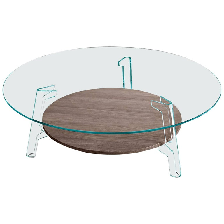 Fiam Flute Glass Coffee Table with Oak Wood Shelf by Paolo Lucidi & Luca Pevere