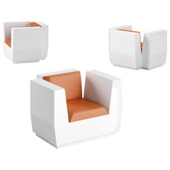 Big Cut Polyethylene Armchair with Orange Cushion by Matali Crasset for Plust