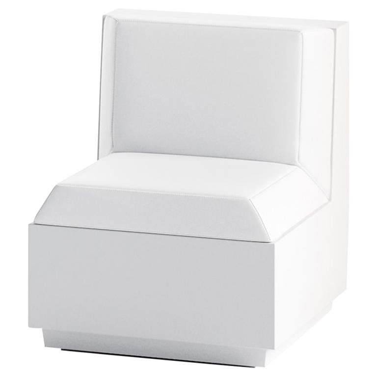 Big Cut Polyethylene Module Chair with Cushion in White by Matali Crasset