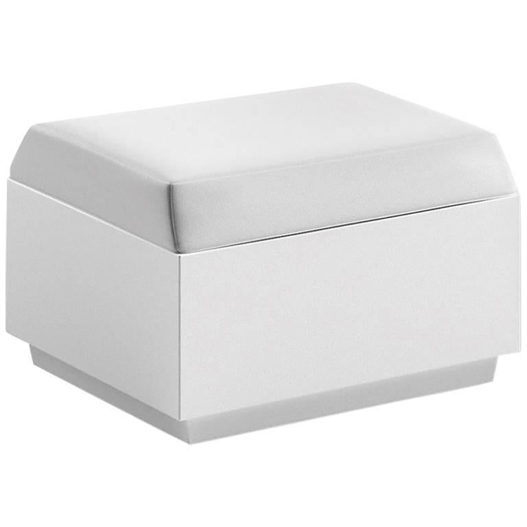 Big Cut Polyethylene Pouf with Cushion in White by Matali Crasset for Plust