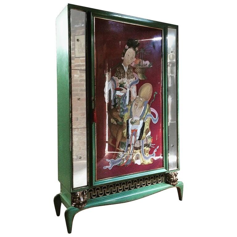 Art Deco Wardrobe Armoire Shanghai Painted Cabinet Rare Mirrored, 1930s