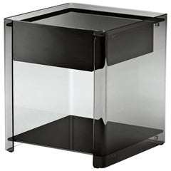 Milo Side Table in Black Lacquered Glass by Ilaria Marelli for Fiam