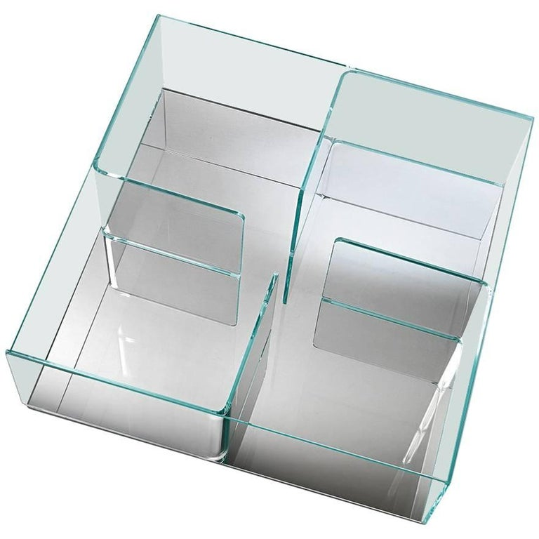 Quadra Coffee Table with Silver Base by Matteo Nunziati for Fiam For Sale