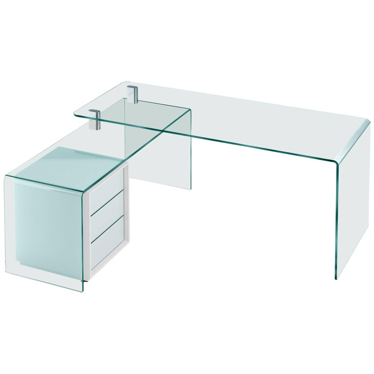Rialto Glass Desk in Curved Glass by CRS Fiam for Fiam