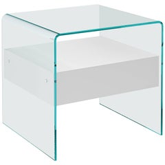 Rialto Glass Side Table with White Wood Drawer by CRS Fiam for Fiam