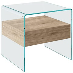 Rialto Glass Side Table with Elm Wood Drawer by CRS Fiam for Fiam