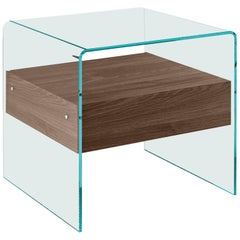 Rialto Glass Side Table with Tobacco Oak Drawer by CRS Fiam for Fiam