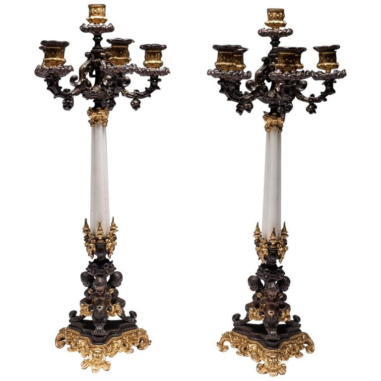 Pair of 19th Century French Empire Bronze and Ormolu Candelabra For Sale