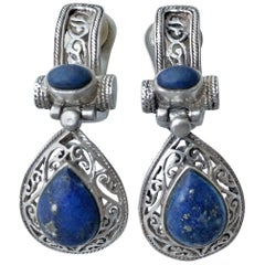 Antique Sterling Silver Earrings Italy Lapis Lazuli