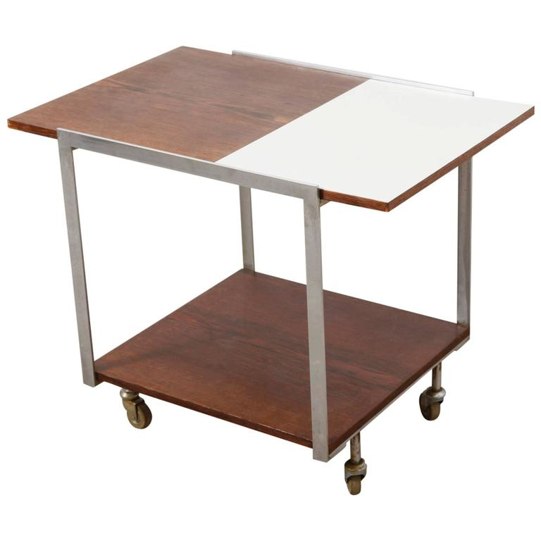 Mid Century Modern Rolling Bar Serving Cart For Sale At