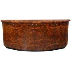 French Design from Paris and Art Deco Style Burl Wood and Brass Curved Sideboard