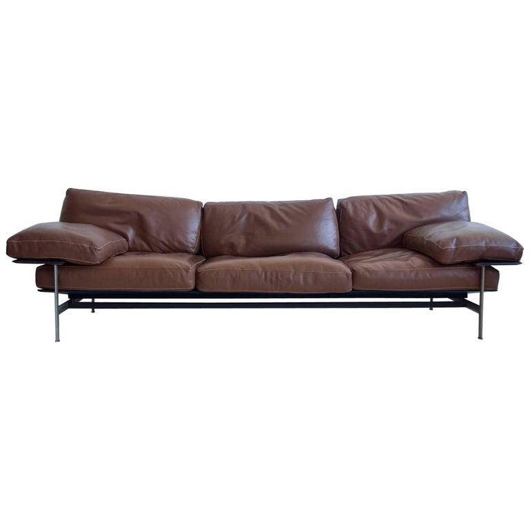 Antonio Citterio and Paolo Nava Brown Leather Sofa, Model Diesis