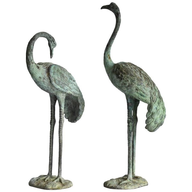 Vintage Pair of Brass Cranes Hollywood Regency 1970s Herons Flamingos