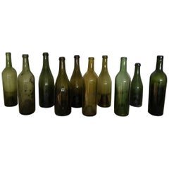 Ten Antique French Wine Bottles from the 19th Century