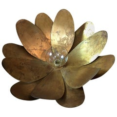 Huge Handcrafted Brass Lotus Flower Ceiling Light, circa 1970s