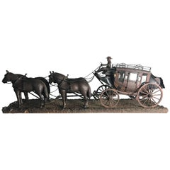 Monumental and Unusual Folk Art Stage Coach Figure and Horses, 1927