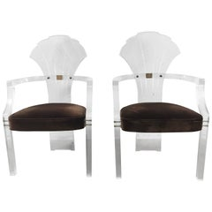 Pair of Lucite Arm Chairs by Hill Manufacturing after Charles Hollis Jones