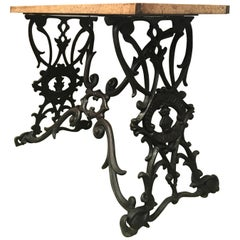 19th Spanish Cast Iron Bistro, Garden, Coffee Table with Original Wood Top Table