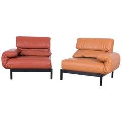 Rolf Benz Plura Designer Sofa Leather Orange Yellow Red Armchairs
