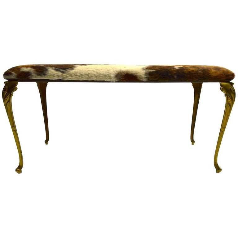 Brass Leg Pony Skin Bench