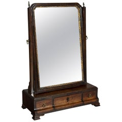 George III Mahogany Dressing Mirror with a Parcel Gilt Moulding