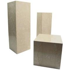 Set of Three Marble Postmodern Pedestals