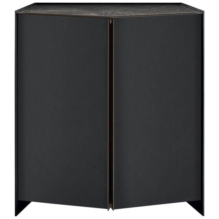 Athus Bar Cabinet by Gallotti and Radice in Black Lacquered Ash and Marble Top